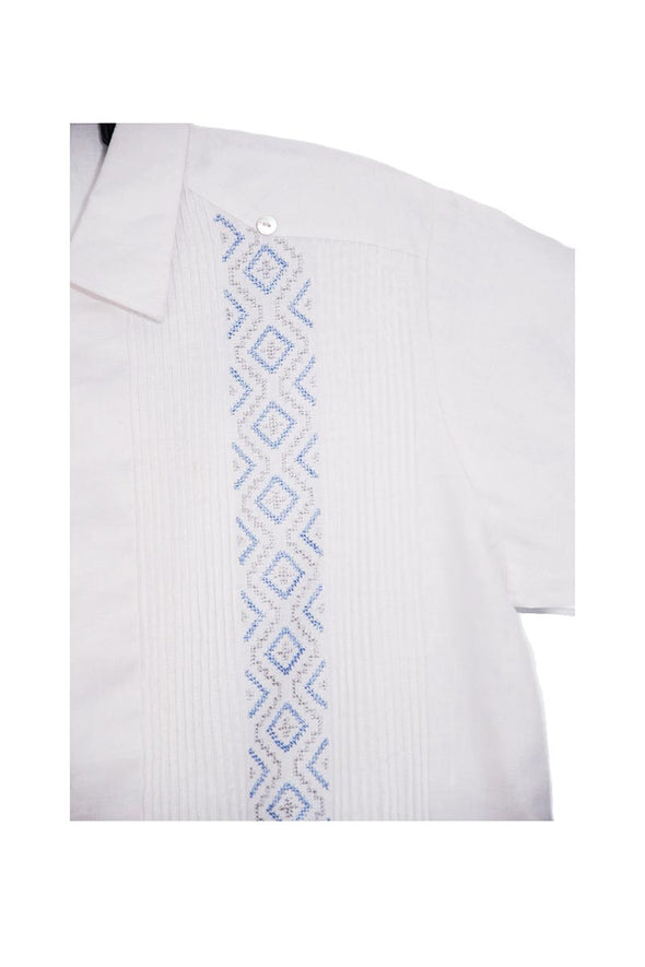 Codice Long Sleeve Guayabera - White with Light Blue