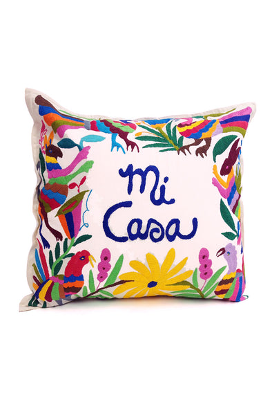 "Pillow- Otomi Embroidered - ""Mi Casa"""