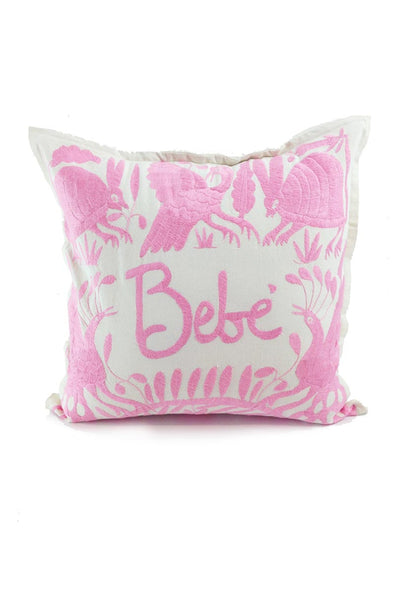 "Pillow- Otomi Embroidered Pillow - ""Bebe"" in Pale Pink"