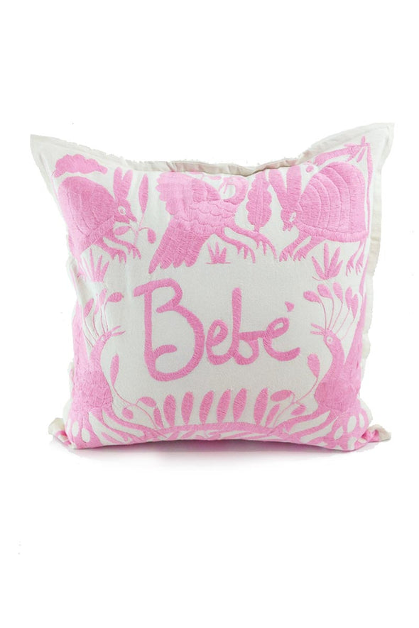 "Otomi Embroidered Pillow - ""Bebe"" in Pale Pink"