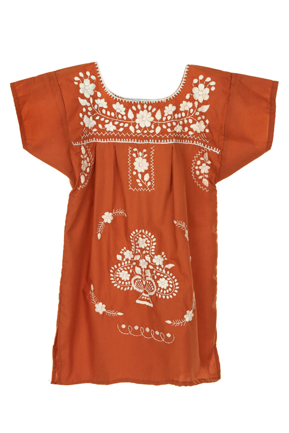 Puebla Girls Sleeved Dress - Collegiate - Burnt Orange with White