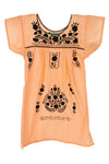 Puebla Girls Sleeved Dress - Peach with Black