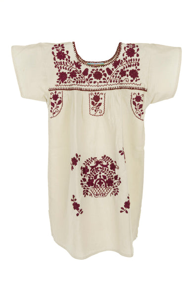 Puebla Girls Sleeved Dress - Collegiate - Natural with Maroon