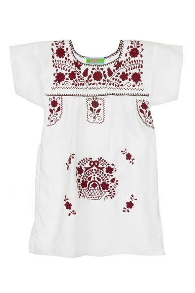 Puebla Girls Sleeved Dress - Collegiate - White with Maroon
