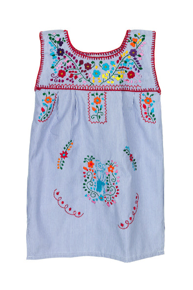 Puebla Girls Dress Sleeveless - Blue Stripe with Multi