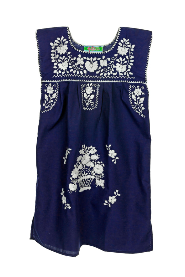 Puebla Girls Sleeveless Dress - Navy with White