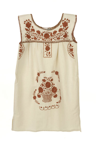Puebla Girls Dress Sleeveless - Collegiate - Natural with Burnt Orange