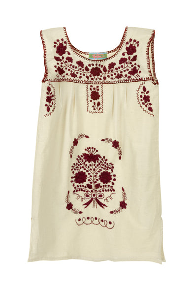 Puebla Girls Dress Sleeveless - Collegiate - Natural with Maroon