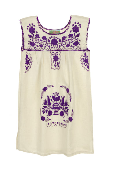 Puebla Girls Dress Sleeveless - Collegiate - Natural with Purple