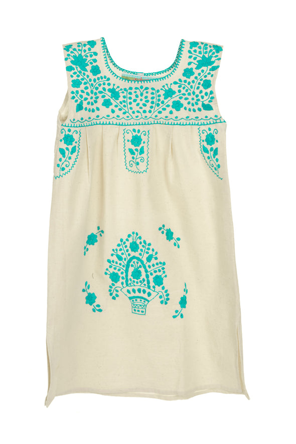 Puebla Girls Dress Sleeveless - Natural with Mint