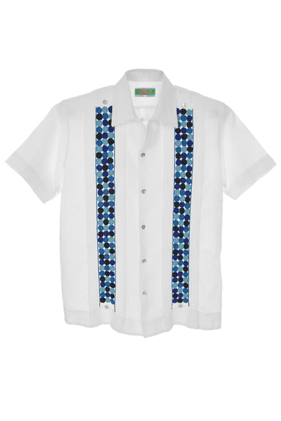 Chiapas Guayabera with Blue Embroidery