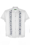 Guayabera White with Blue and Silver Oaxacan Embroidery