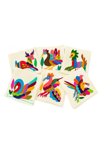 Cocktail Napkins - Otomi Embroidered  - Set of 6 - Multiple Colors