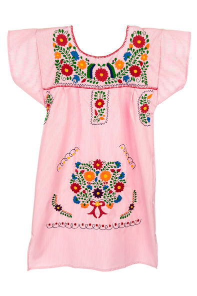 Mexican Embroidered Puebla Mini Dress -Specialty Sleeved - Multiple Colors & Sizes