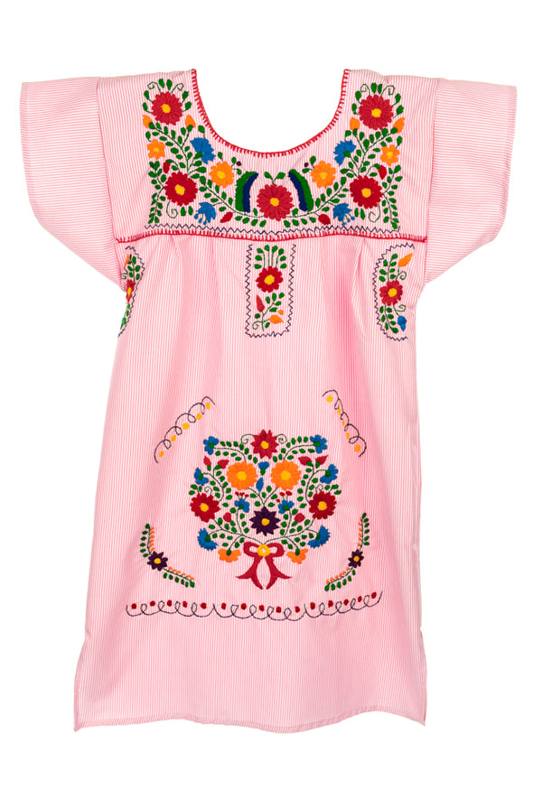 Mexican Embroidered Puebla Plus Size Mini Dress -Specialty Sleeved - Multiple Colors & Sizes
