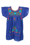 Mexican Embroidered Puebla Mini Dress - Poplin Multi Sleeved - Multiple Colors & Sizes