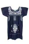 Puebla Girls Sleeved Dress - Navy with White