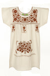 Mexican Embroidered Puebla Mini Dress -Collegiate Cotton Sleeved -Multiple Colors & Sizes Available