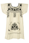 Mexican Embroidered Puebla Mini Dress - Cotton Sleeved - 2 Colors Available
