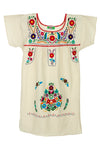 Mexican Embroidered Puebla Mini Dress- Cotton Multi Sleeved - Multiple Colors & Sizes