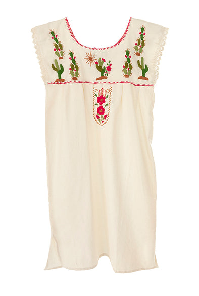 Mexican Cactus Embroidered Mini Dress - Cotton Sleeveless- Multiple Sizes Available