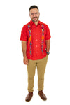 Guayabera with Multi Color Otomi Embroidery- 2 Color Options - Melon or Coral