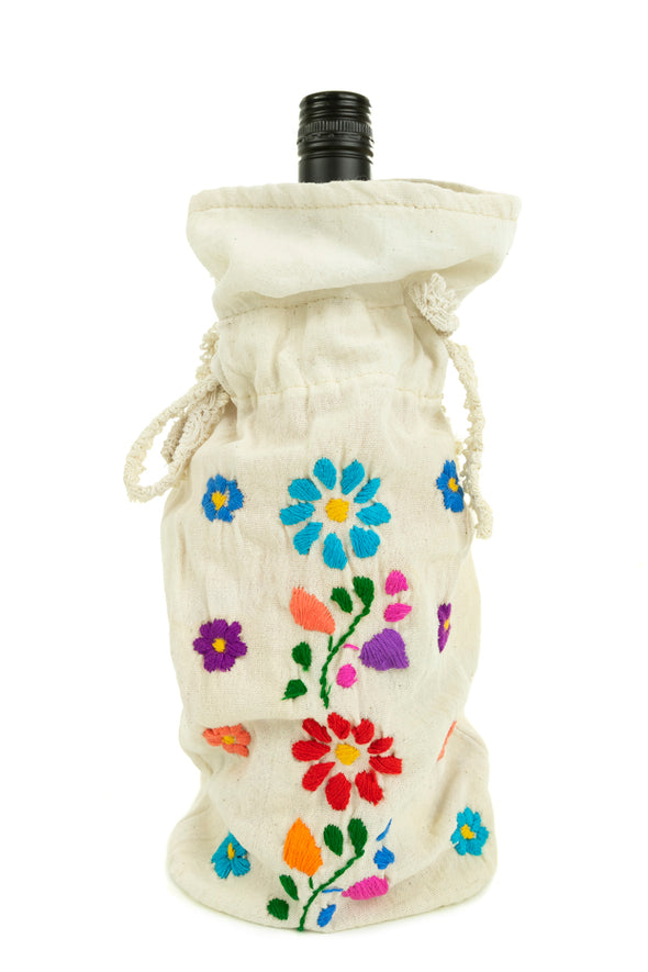 Bottle Bag - Floral - Solid with Multicolored Embroidery