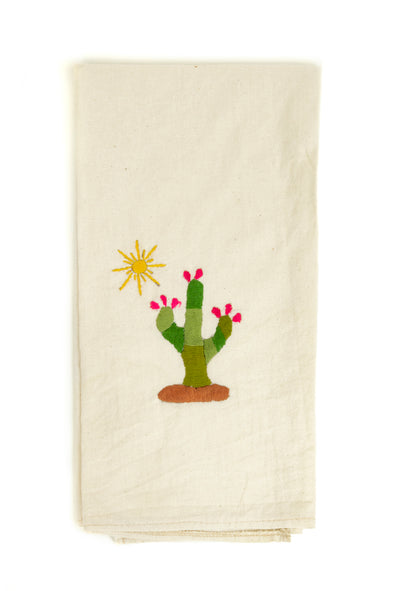 Cactus Embroidered Hand Towel- 2 Color Options Available