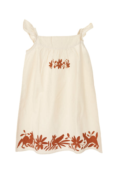 Otomi Girls Sundress  - Natural with Burnt Orange