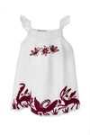 Otomi Girls Sundress  - White with Maroon