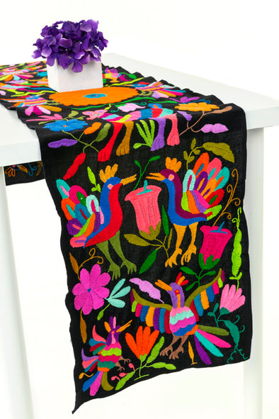 Otomi Table Runner - Black/Multi