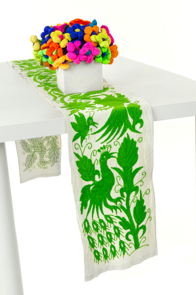 Table Runner - Otomi - Natural/Lime Green