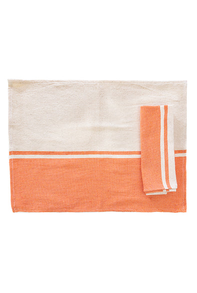 Place-mat/Napkin - Color Block Woven - Orange