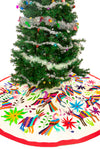 Hand Embroidered Large Otomi Christmas Tree Skirt - Natural Multi Color