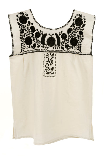 Mexican Puebla Blouse - Cotton Sleeveless- Natural/ Black