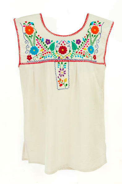 Mexican Puebla Blouse - Sleeveless- Multicolored Embroidery