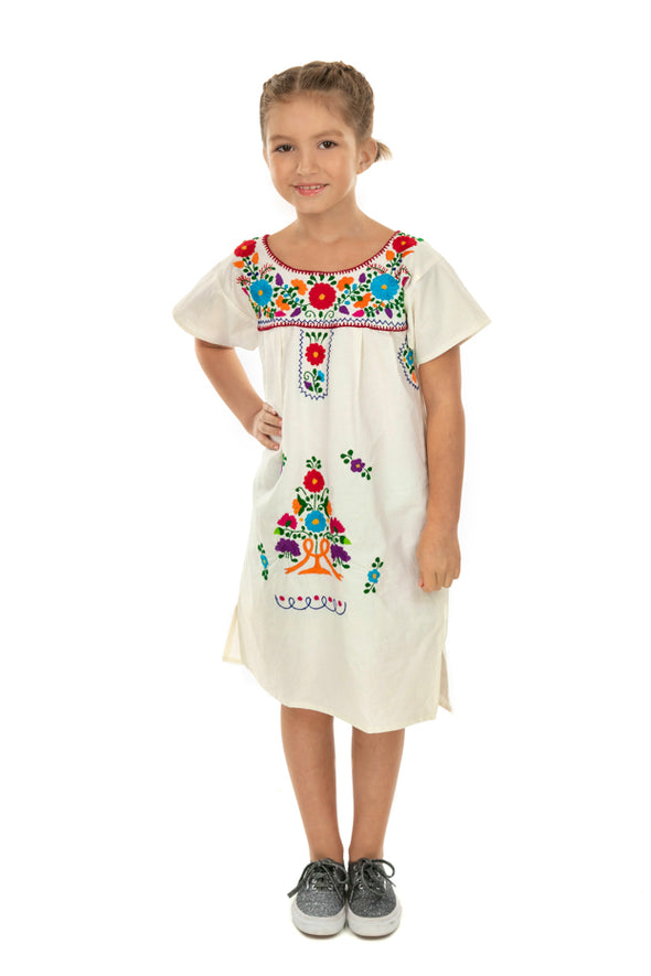 Puebla Girls Sleeved Dress - Natural with Multi