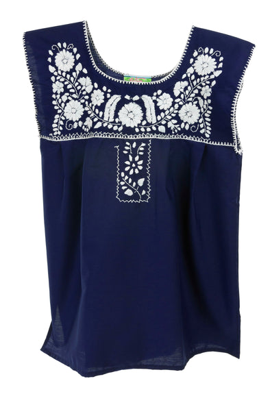 Mexican Puebla Blouse - Poplin Sleeveless- Navy with white