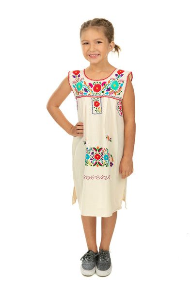 Puebla Girls Sleeveless Dress - Natural with 2 Multi Color Embroidery Options