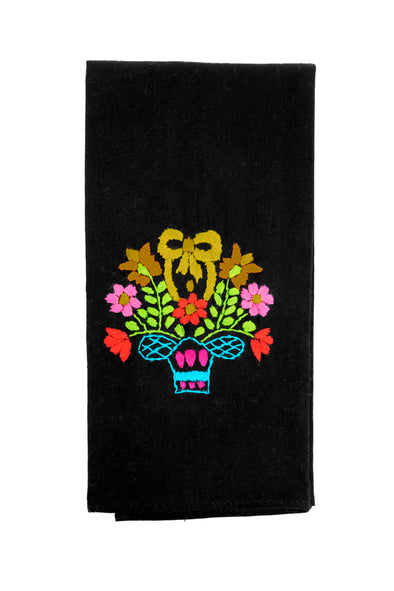 Hand Towel - Puebla Embroidered - Black/Multi