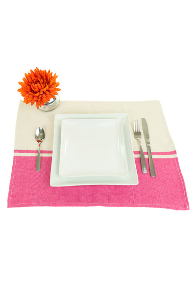 Place-mat/Napkin - Color Block Woven - Hot Pink