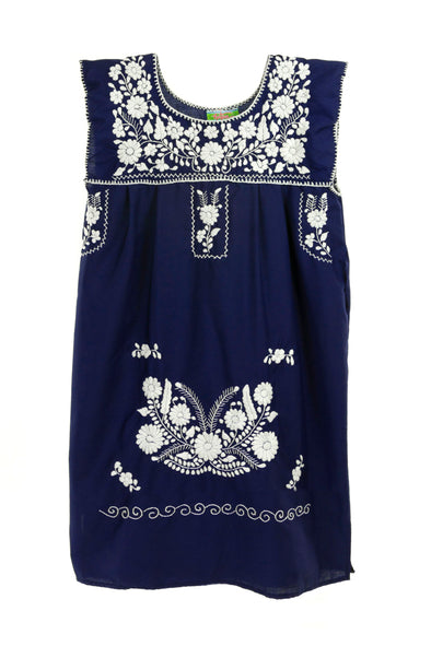Mexican Embroidered Puebla Mini Dress- Poplin Sleeveless - Navy with White