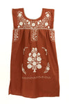 Puebla Girls Dress Sleeveless - Collegiate - Burnt Orange with White