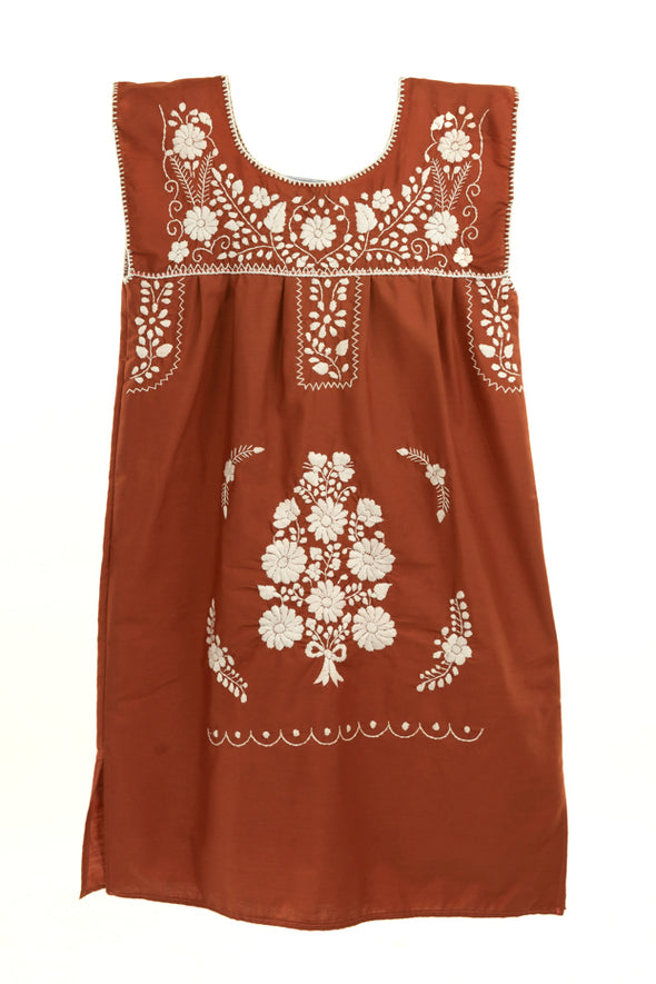 Mexican Embroidered Puebla Mini Dress -Plus Size- Collegiate Poplin Sleeveless - Multiple Colors