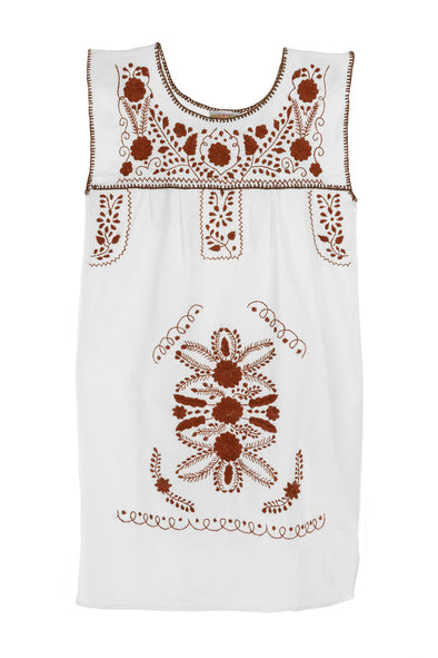 Mexican Embroidered Puebla Mini Dress  - Sleeveless - White with Burnt Orange