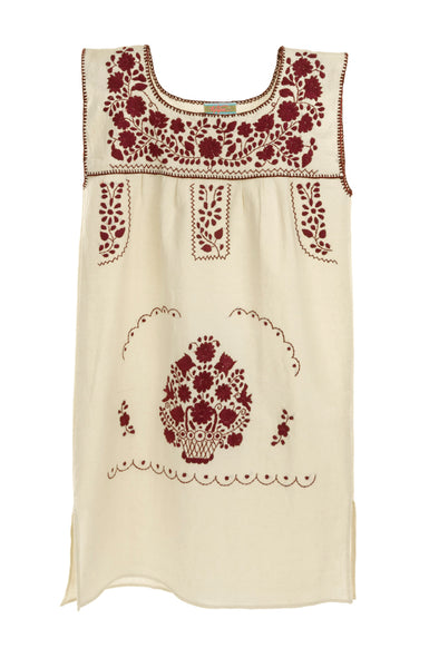 Mexican Embroidered Puebla Mini Dress - Collegiate Cotton Sleeveless - Multiple Colors & Sizes Available