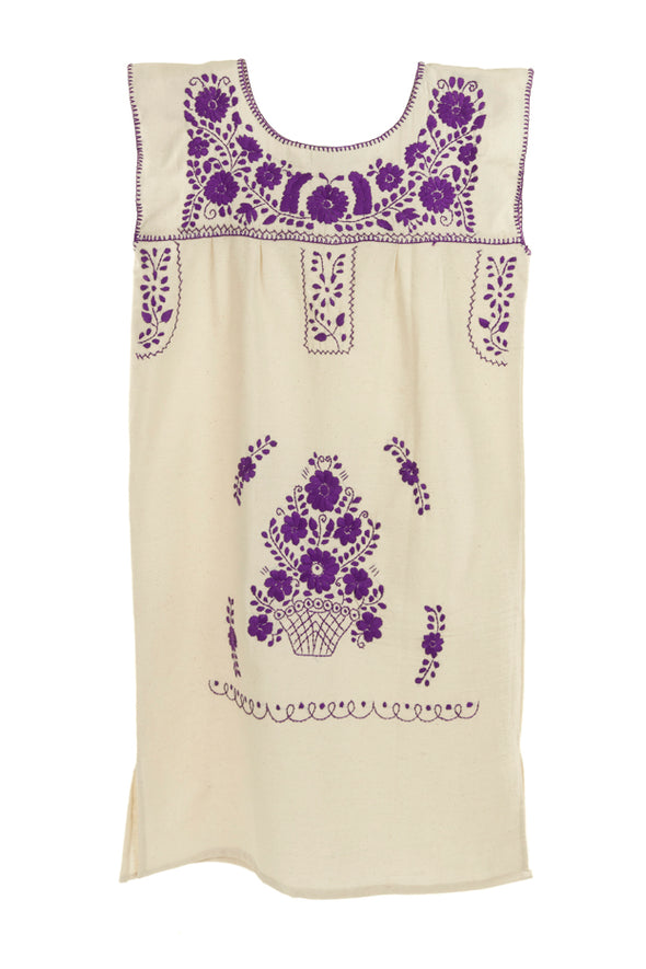 Mexican Embroidered Puebla Mini Dress - Collegiate Cotton Sleeveless -Natural/Purple