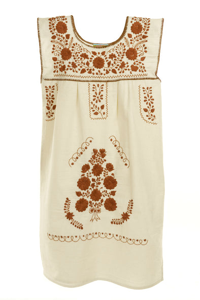 Mexican Embroidered Puebla Mini Dress - Collegiate Cotton Sleeveless -Natural/Burnt Orange