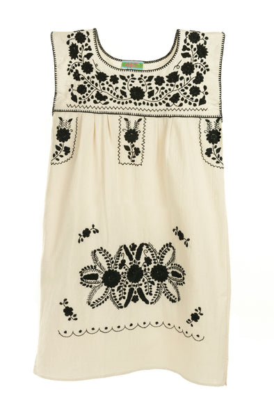 Puebla Girls Dress Sleeveless - Natural with Black