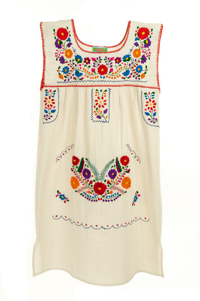 Mexican Embroidered Puebla Mini Dress- Cotton Multi Sleeveless - Multiple Colors and Sizes